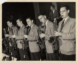 The Johnny Holmes Orchestra on stage at Victoria Hall