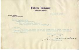 Letter from the Registrar at Bishop's University