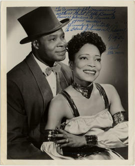 Autogragraphed photo of singer/dancers Dick Saunders and Ella Mae Waters