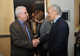 An unidentified person and Elie Wiesel