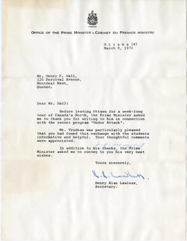 Letter from Henry Alan Lawless, Secretary of the Office of the Prime Minister