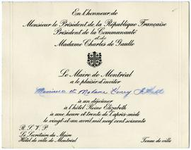 Invitation from the Mayor of Montreal to Henry F. and Anna Hall to Attend the Lunch Held in Honou...