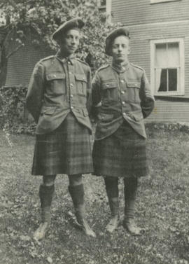 M. Cameron and Henry F. Hall in Their 42nd Battalion, Royal Highlanders of Canada Kilts and Tam O...