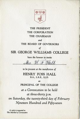 Anna Hall's Invitation to Henry F. Hall's Installation as Principal Convocation Ceremony