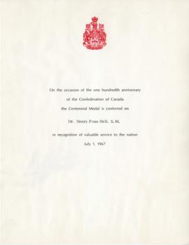 Centennial Medal of Canada and Order of Canada Conferral Records