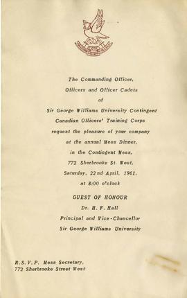 Invitation to the Sir George Williams University Contingent Canadian Officers' Training Corps Ann...