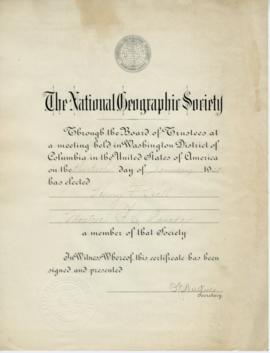 National Geographic Society Membership Certificate and Membership Application Correspondence