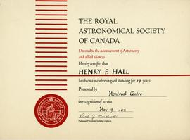 Royal Astronomical Society of Canada 29-year Membership Certificate