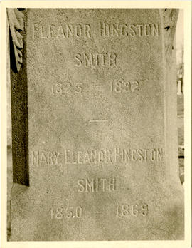 Tombstone of Eleanor and Mary Eleanor Hingston Smith