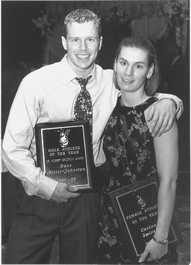 Athletes of the Year recipients Dave Miller-Johnston and Corinne Swirsky at Atheltic Awards Banquet
