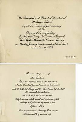 Invitation to the Opening of the New St. George's School Building