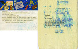 Birthday Telegram from the Sir George Williams Students Undergraduate Society and Henry F. Hall's...