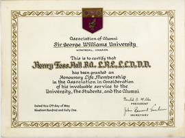 Association of Alumni of Sir George Williams University Honourary Life Membership Certificate