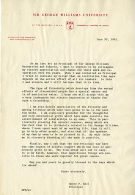 Henry F. Hall's Retirement as Principal Letter and Press Clippings Related