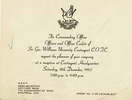 Invitation to the Sir George Williams University Contingent Canadian Officers' Training Corps Rec...