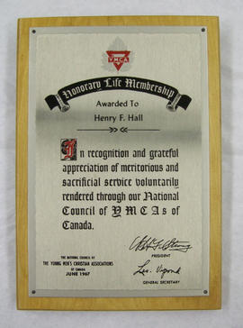 National Council of YMCAs of Canada Honourary Life Membership Award