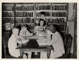 Children and instructor in Library