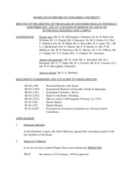 Minutes of the Meeting of the Board of Governors