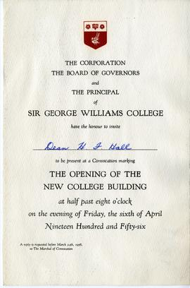 Invitation to the Convocation Marking the Opening of the New College Building