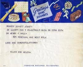Telegram from Allan and Helen