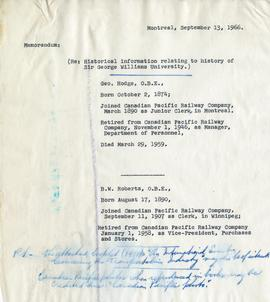 Memo re: G. Hodge and B.W. Roberts, Historical Information Relating to the History of Sir George ...