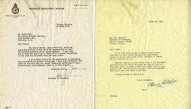 Letter from H.W. Jameson, Director of Personnel of the Defense Research Board, and Henry F. Hall'...