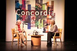 Jane Goodall and an unidentified person