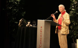 Jane Goodall doing the lecture