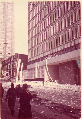 Debris outside the Hall Building