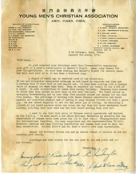 Letter from E.I. Taylor, Secretary with YMCA of Amoy, China