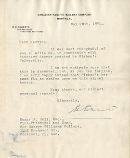 Letter from B.W. Roberts, Vice-President Purchases and Stores of the Canadian Pacific Railway Com...