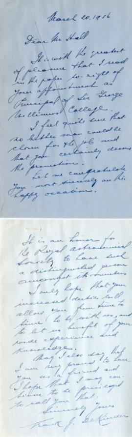 Letter from Frank J. DeKinder and Henry F. Hall's Reply