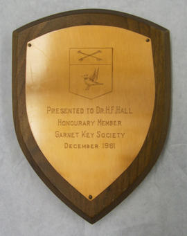 Sir George Williams Garnet Key Society Honourary Membership Plaque