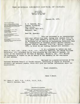 Letter from James C. Bonar, Chairman of the History and Archives Committee of the Business Archiv...