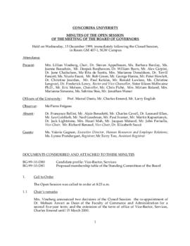 Minutes of the Open Session of the Meeting of the Board of Governors