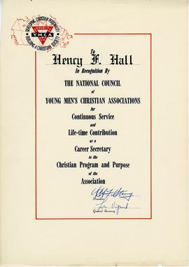 National Council of YMCAs Recognition of Continuous Service and Life-time Contribution Certificate