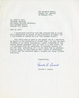 Letter from Kenneth G. Coward, Sir George Williams Alumnus