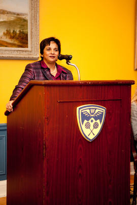 Reeta Chowdhari Tremblay delivering a speech