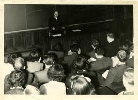 Henry F. Hall Delivers a Lecture