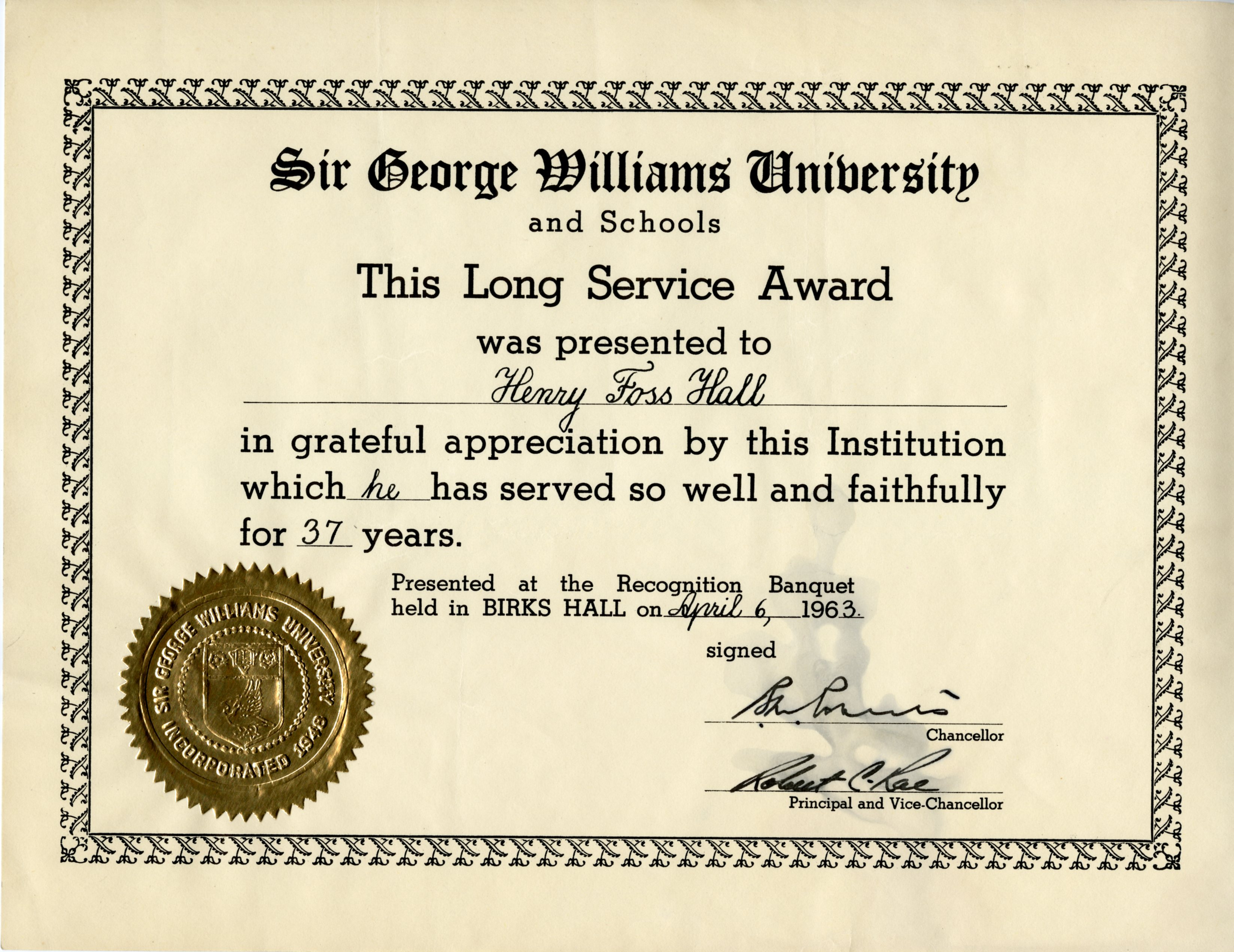Sir george williams university long service award archives amp university long service award open original digital object yadclub Image collections