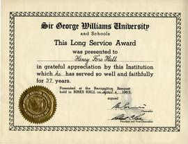 Sir George Williams University Long Service Award