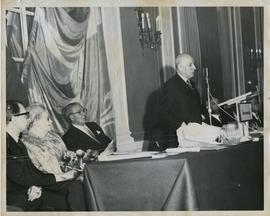Henry F. Hall Giving an Address at the Windsor Hotel