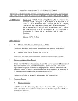 Minutes of the Meeting of the Board