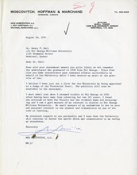 Letter from Moe Moscovitch, Sir George Williams Alumnus