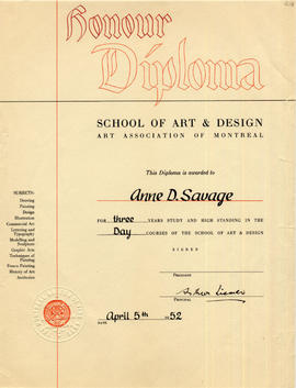 Diploma from the School of Art and Design
