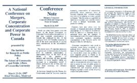 A National Conference on Mergers, Corporate Concentration and Corporate Power in Canada