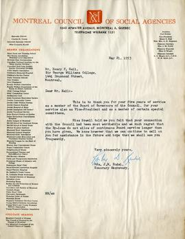 Letter from Mrs. J.M. Rudel, Honourary Secretary of the Montreal Council of Social Agencies