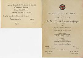 Invitation to the National Council of YMCAs Centennial Banquet
