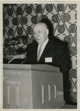 Henry F. Hall Delivers an Address at the Queen Elizabeth Hotel