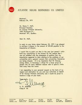 Letter from R.G. Munro, Sir George Williams Alumnus